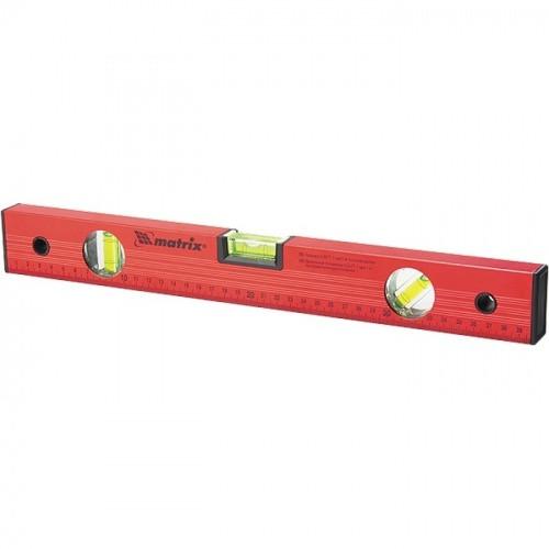 Уровень алюминиевый 1200 мм 3 глазка красный линейка Matrix