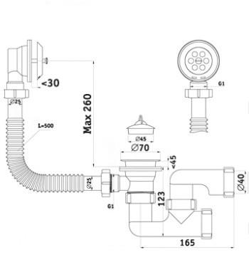 Сифон АНИ для ванны с выпуском, с переливом регулируемый 1 1/2