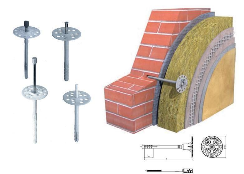 Дюбель для теплоизоляции с металлическим гвоздем и термоголовкой 10х220 мм Грибки