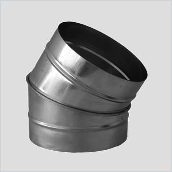 Отвод для круглых воздуховодов оцинкованный d 110 мм на 45°