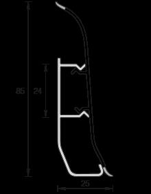 Напольный пластиковый плинтус Идеал Элит-Макси 85мм Ясень светлый  254