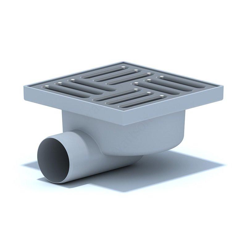 Трап горизонтальный нерегулируемый с выпуском 50мм, с пластиковой решеткой 150х150 мм ТА 5110