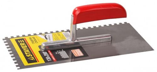 Гладилка стальная 130х280мм зуб 4х4 серия MASTER с деревянной ручкой Stayer