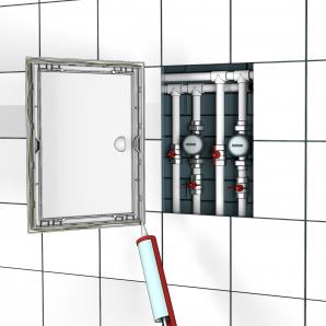 Люк-дверца ревизионный пластиковый ЭРА 250х250мм с ручкой серии ЛР