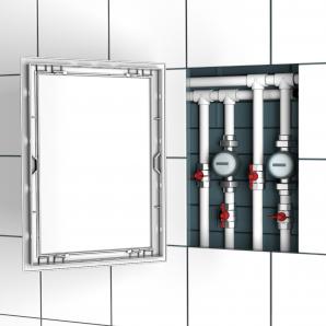 Люк-дверца ревизионный пластиковый ЭРА 300х300мм с фланцем серии Л