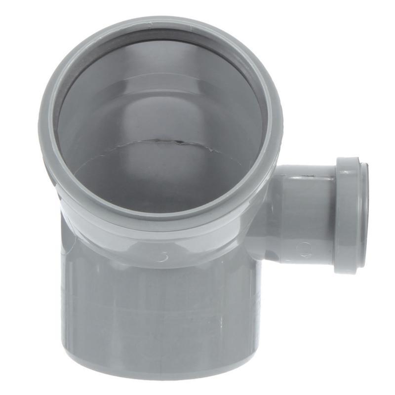 Отвод ПВХ канализационная D110х45° с выходом 50 (правый)