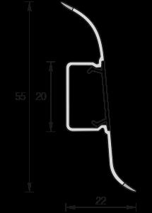 Плинтус ПВХ IDEAL Комфорт 55 мм Ясень белый 252